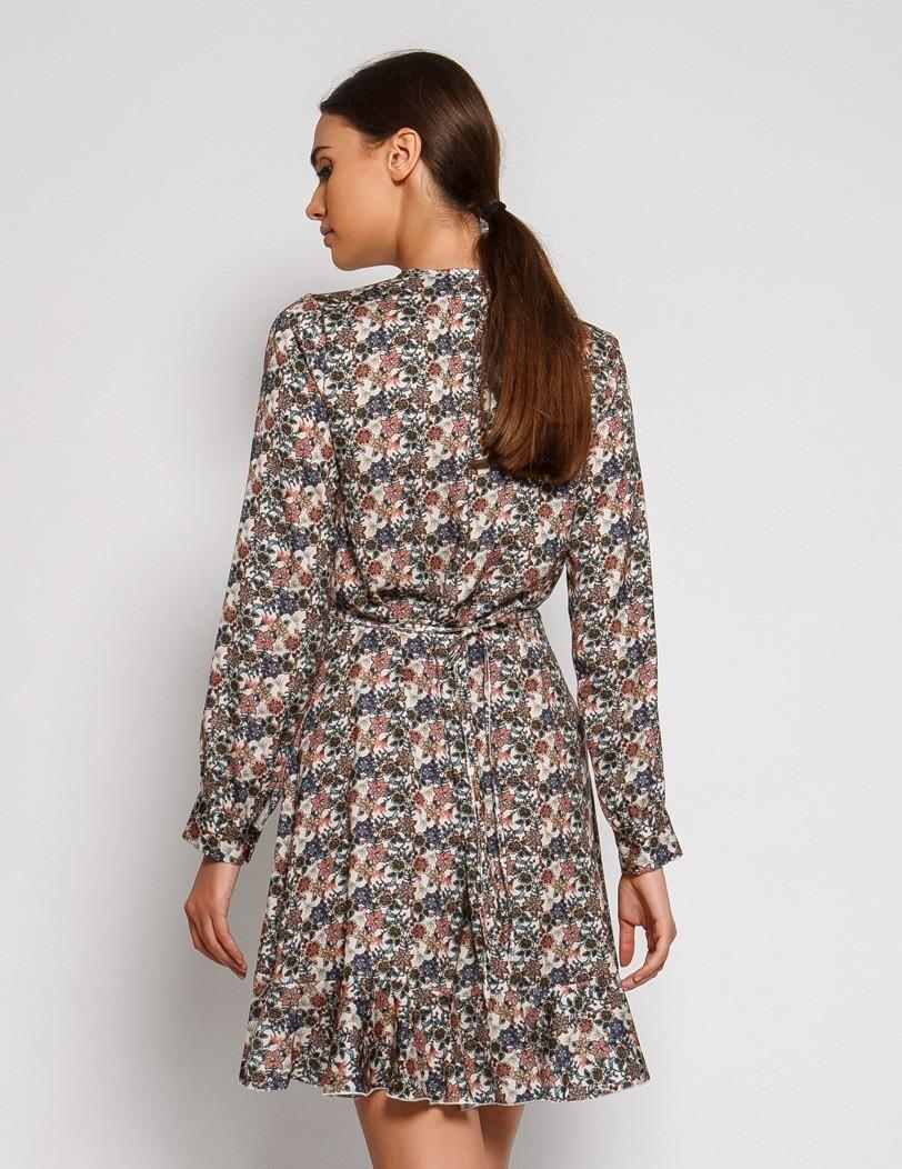 Φόρεμα εμπριμέ μωβ λουλούδια