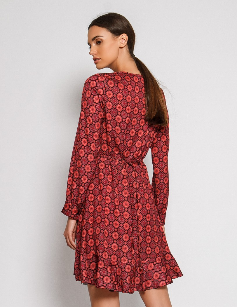 Print red dress
