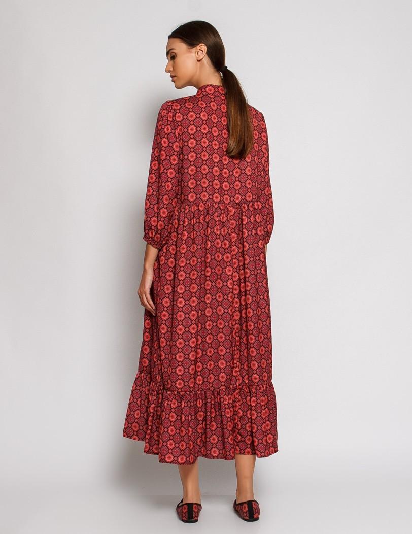 Print dress with collar
