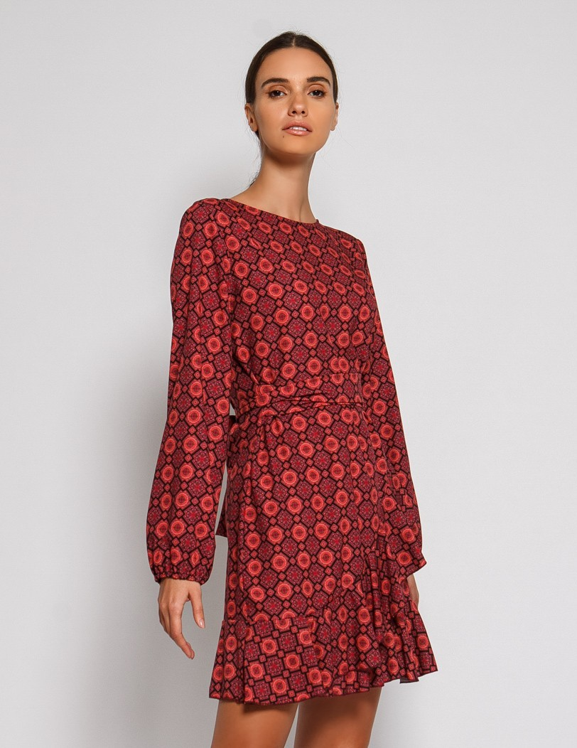 Print dress with belt