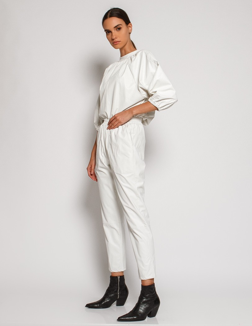 White pants eco leather