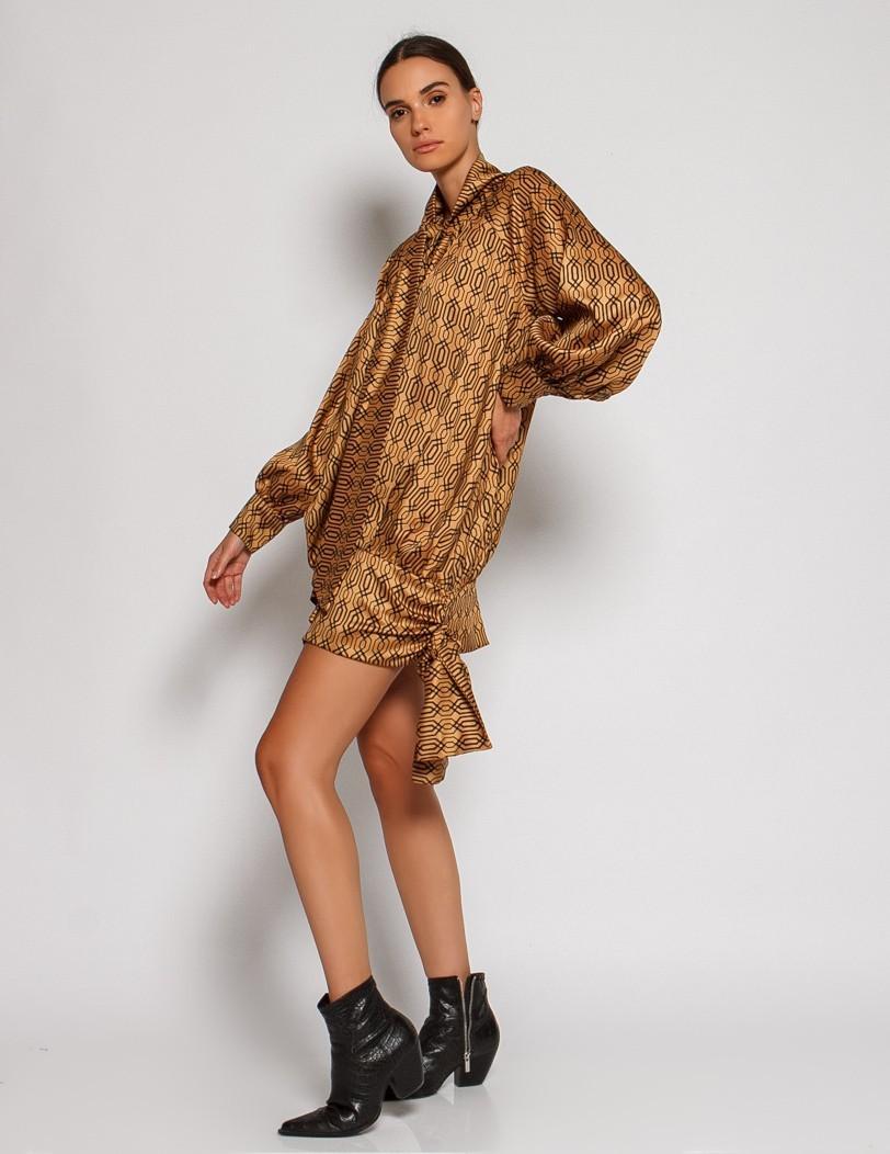 Print gold dress