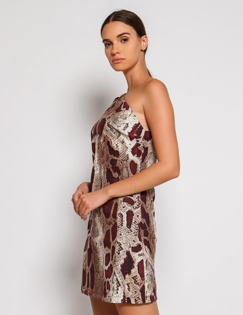 One shoulder dress snake print